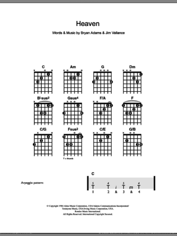 Heaven sheet music for guitar solo (chords) by Bryan Adams and Jim Vallance, easy guitar (chords)