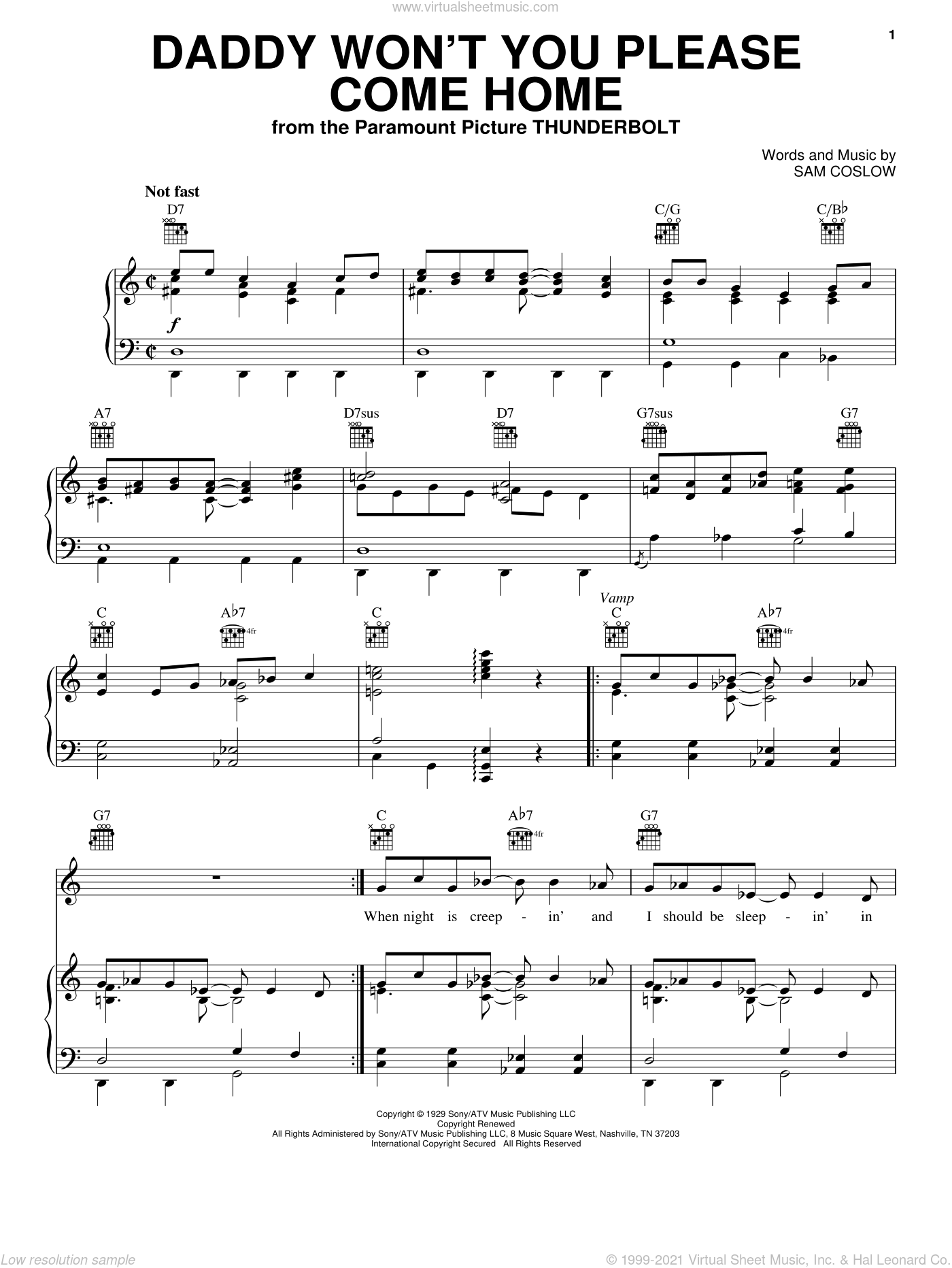 Daddy Won't You Please Come Home sheet music for voice, piano or guitar by Sam Coslow