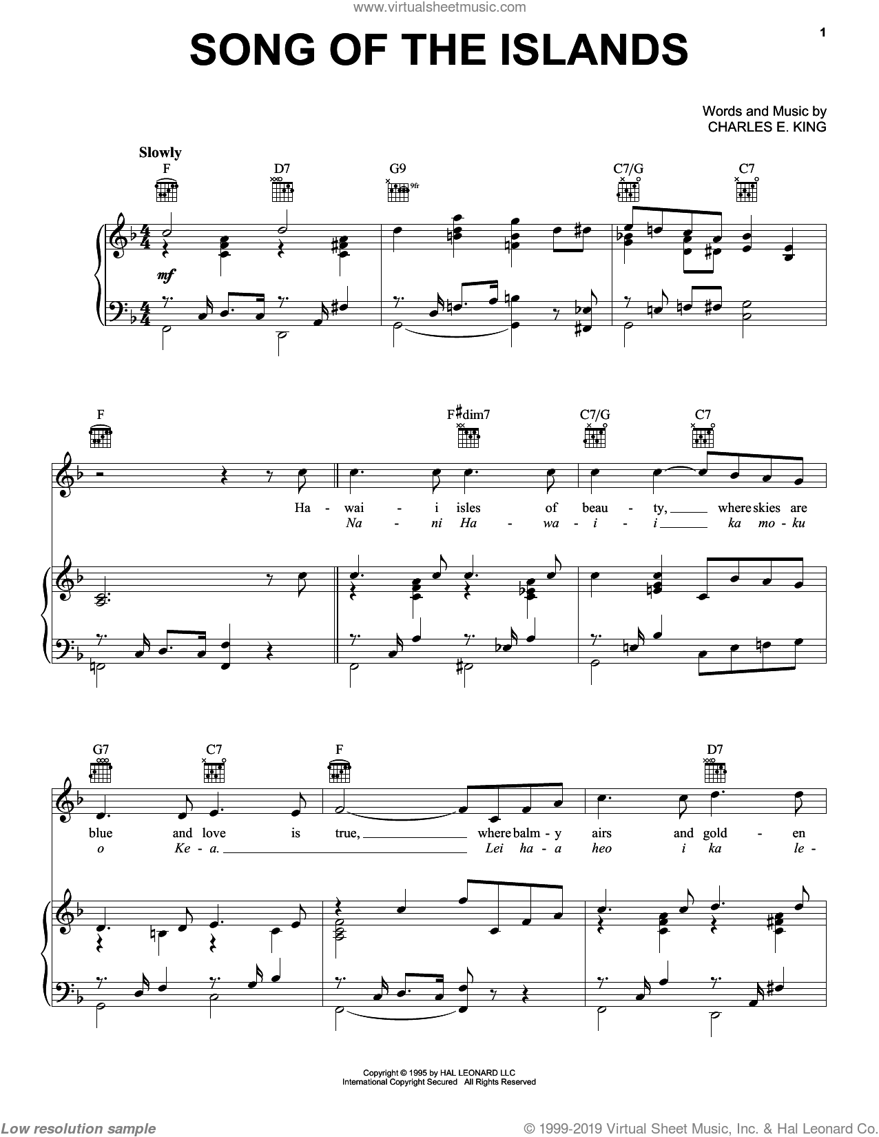 Song Of The Islands sheet music for voice, piano or guitar by Count Basie, Les Paul, Louis Armstrong and Charles E. King, intermediate voice, piano or guitar. Score Image Preview.
