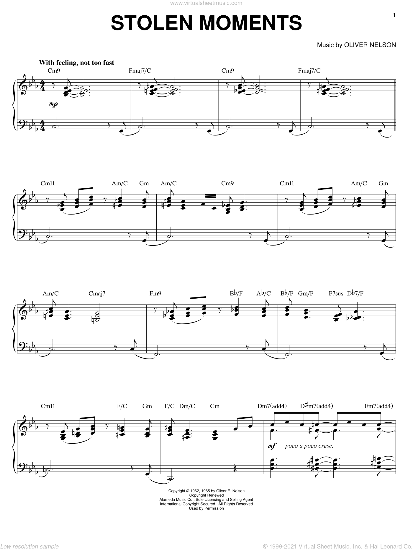Stolen Moments sheet music for piano solo by Oliver Nelson, intermediate skill level