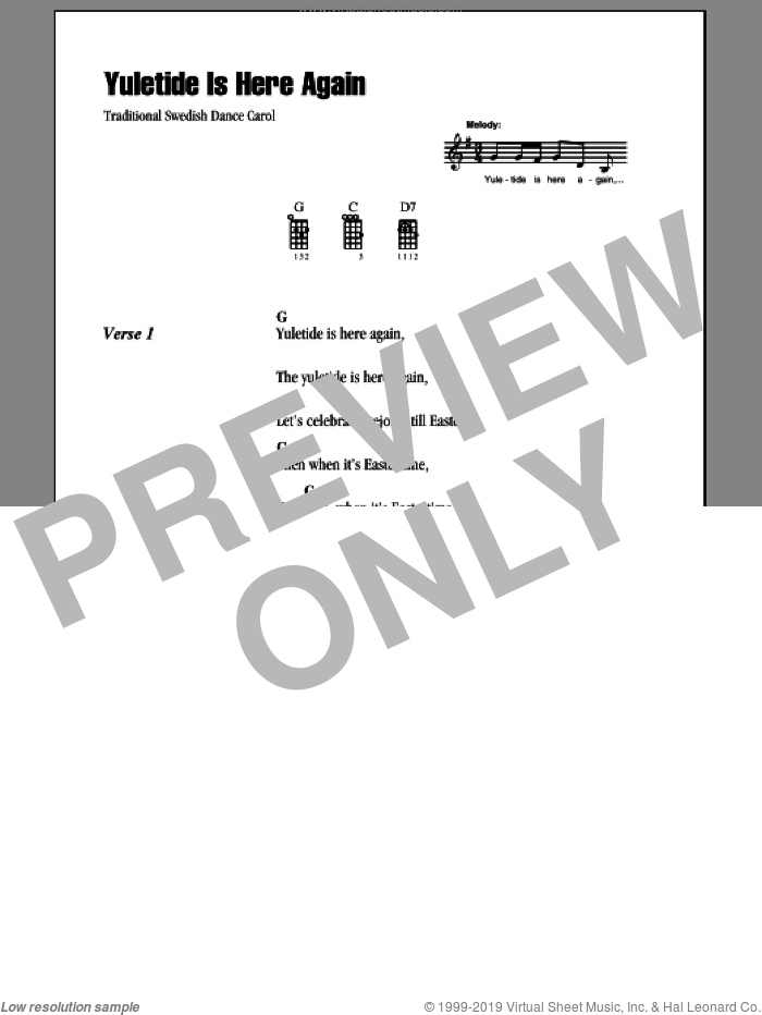 Yuletide Is Here Again sheet music for ukulele (chords). Score Image Preview.