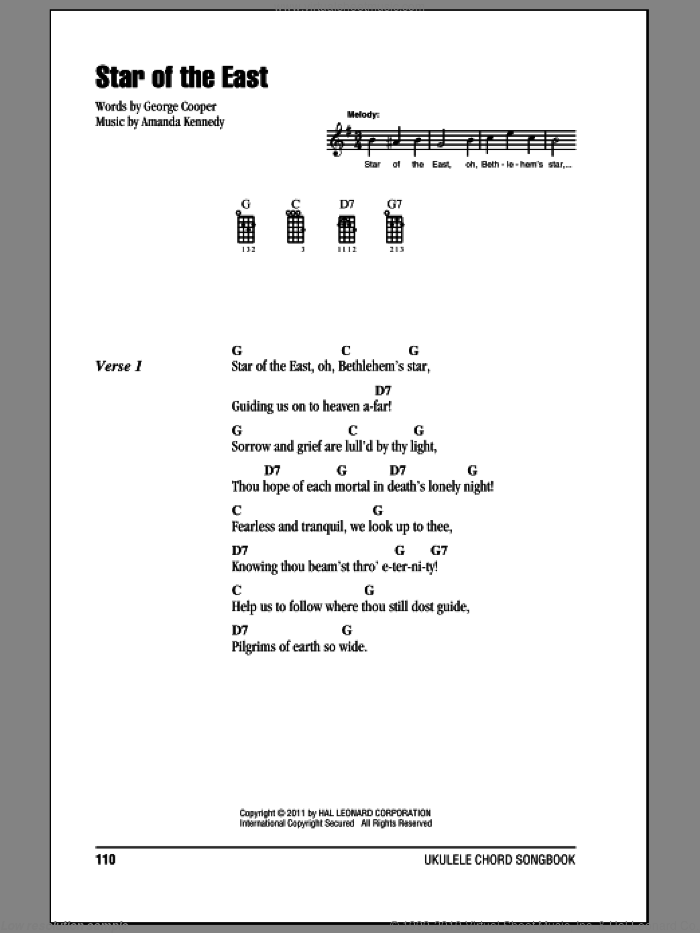 Star Of The East sheet music for ukulele (chords) by Judy Garland, Amanda Kennedy and George Cooper, Christmas carol score, intermediate ukulele (chords). Score Image Preview.