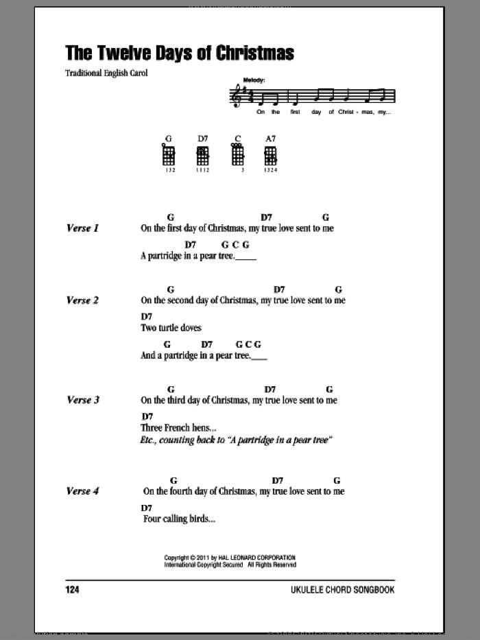 The Twelve Days Of Christmas sheet music for ukulele (chords), intermediate skill level
