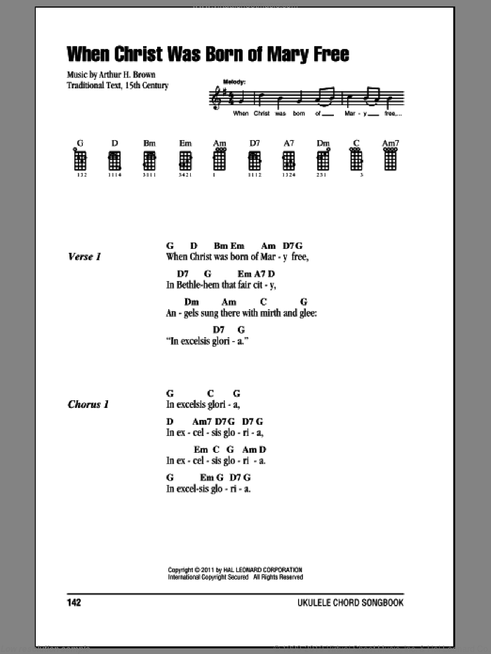 When Christ Was Born Of Mary Free sheet music for ukulele (chords) by Arthur H. Brown, intermediate skill level