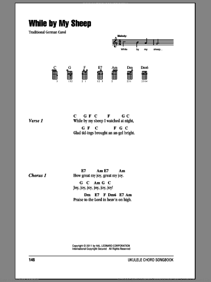 While By My Sheep sheet music for ukulele (chords), intermediate skill level