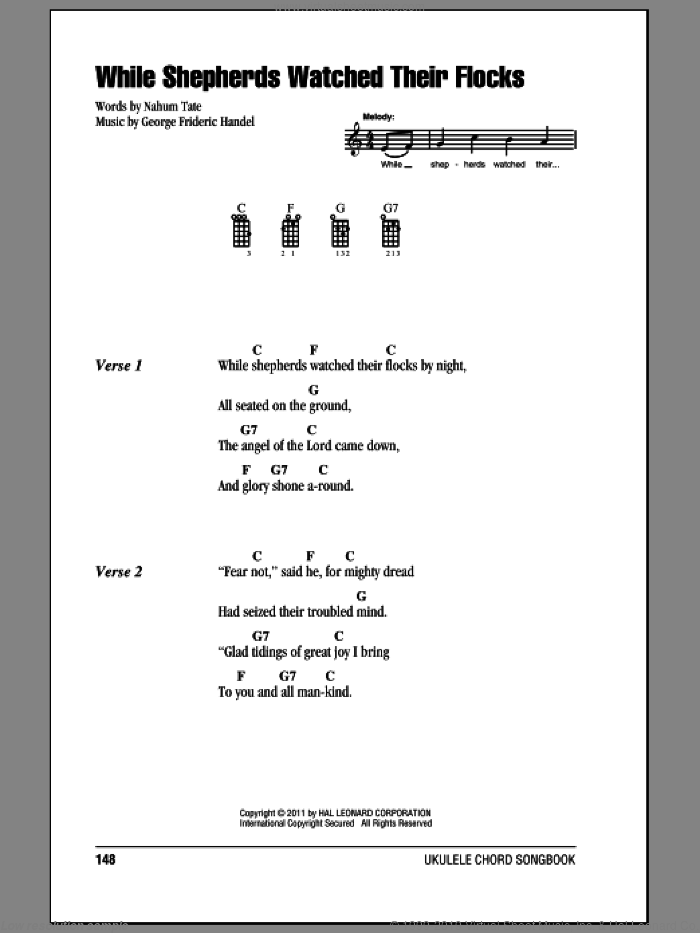 While Shepherds Watched Their Flocks sheet music for ukulele (chords) by George Frideric Handel, Miscellaneous and Nahum Tate, intermediate skill level