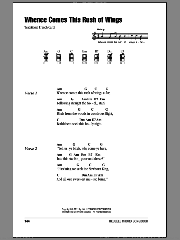 Whence Comes This Rush Of Wings Sheet Music For Ukulele Chords