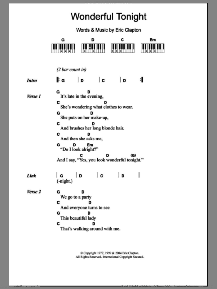 Wonderful Tonight sheet music for piano solo (chords, lyrics, melody) by Eric Clapton, intermediate piano (chords, lyrics, melody). Score Image Preview.