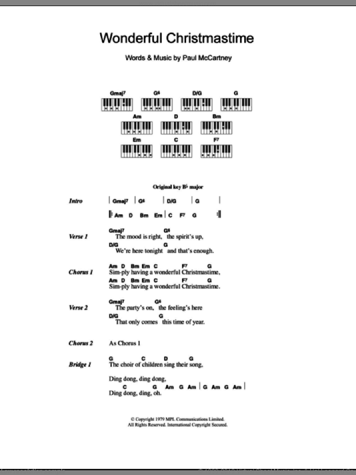 Wonderful Christmastime sheet music for piano solo (chords, lyrics, melody) by Paul McCartney