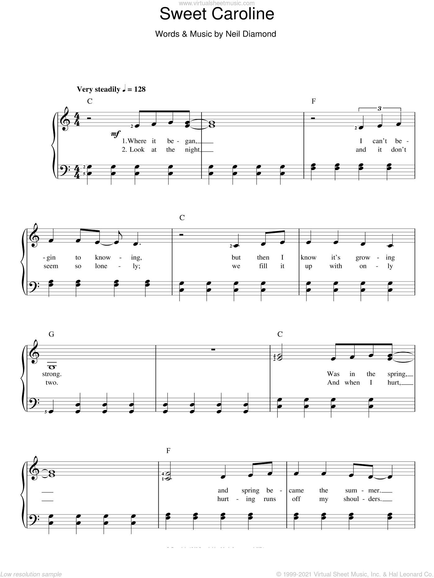 Sweet Caroline sheet music for voice and piano by Neil Diamond, intermediate skill level