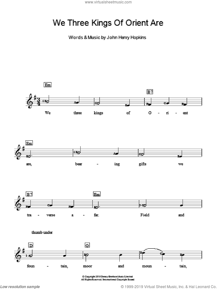 We Three Kings Of Orient Are sheet music for piano solo (chords, lyrics, melody) by John H. Hopkins, Jr., intermediate piano (chords, lyrics, melody). Score Image Preview.