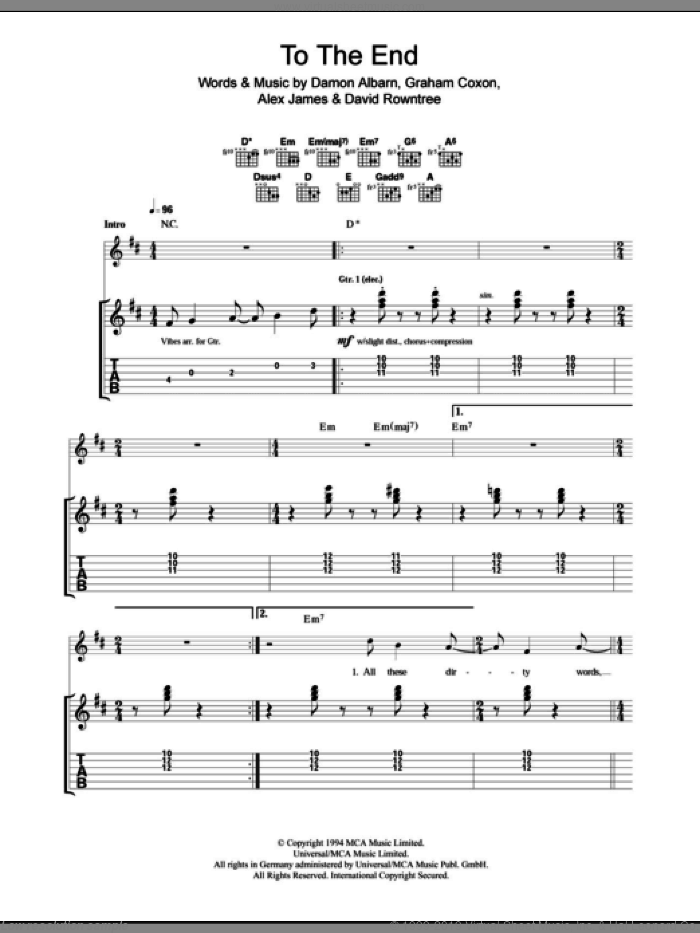 To The End sheet music for guitar (tablature) by Blur, Alex James and Damon Albarn. Score Image Preview.