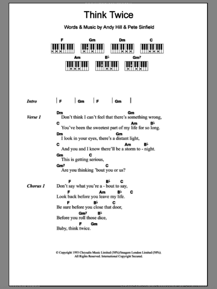 Think Twice sheet music for piano solo (chords, lyrics, melody) by Celine Dion, Andy Hill and Pete Sinfield, intermediate piano (chords, lyrics, melody)