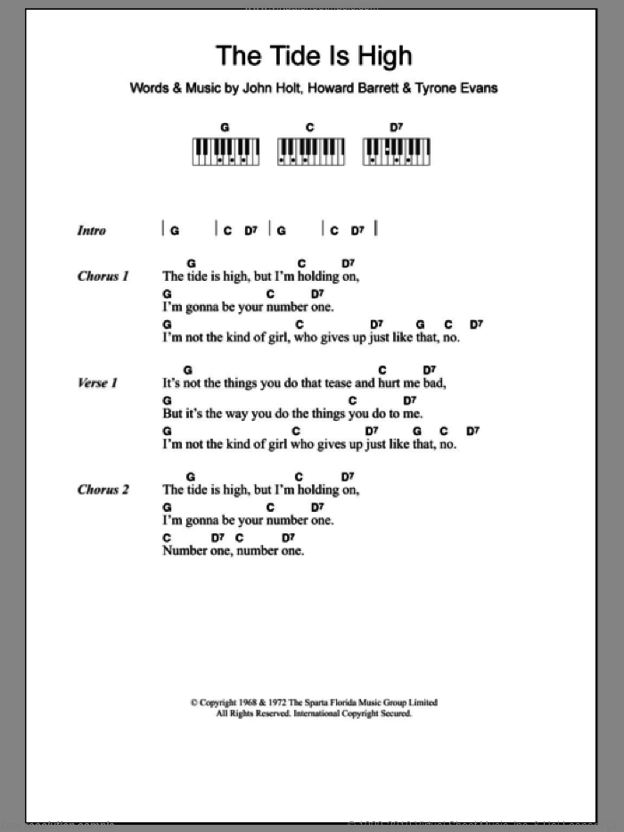 The Tide Is High sheet music for piano solo (chords, lyrics, melody) by Blondie and John Holt. Score Image Preview.