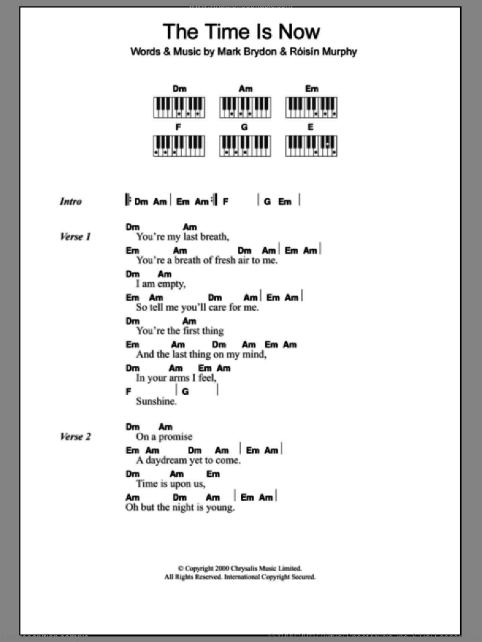 The Time Is Now sheet music for piano solo (chords, lyrics, melody) by Roisin Murphy