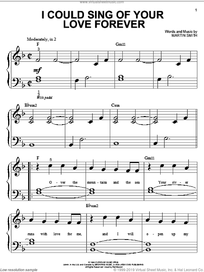 I Could Sing Of Your Love Forever sheet music for piano solo (big note book) by Delirious?, Passion Band and Martin Smith, wedding score, easy piano (big note book)