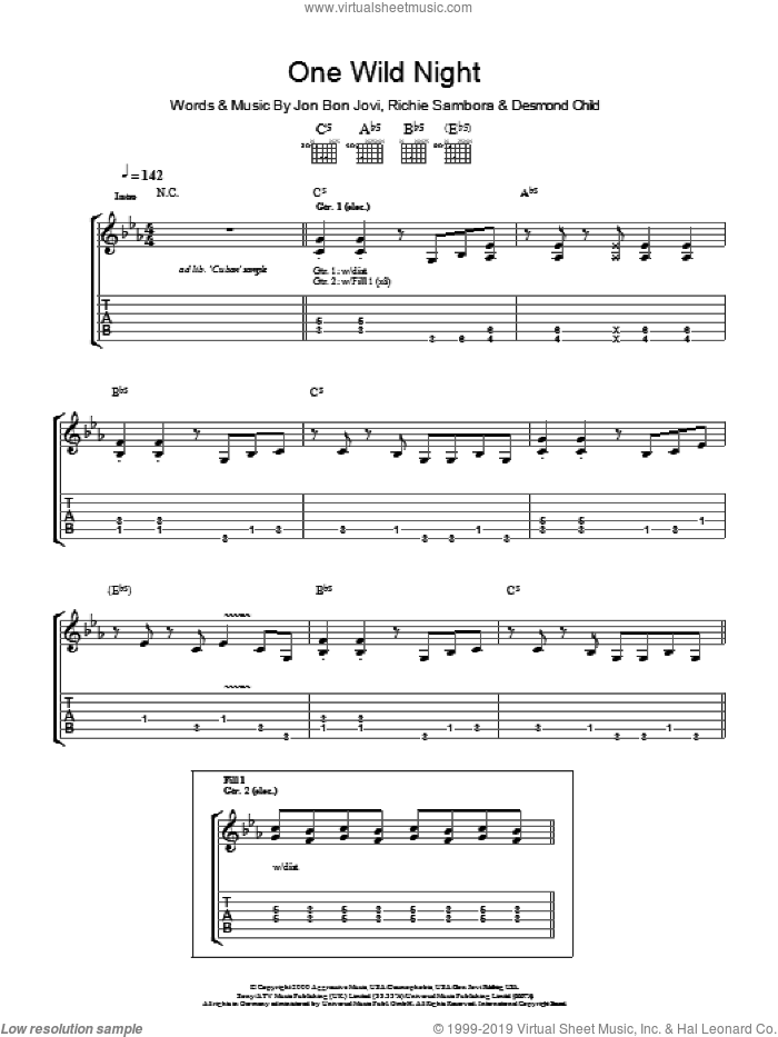 One Wild Night sheet music for guitar (tablature) by Richie Sambora, Bon Jovi and Desmond Child. Score Image Preview.