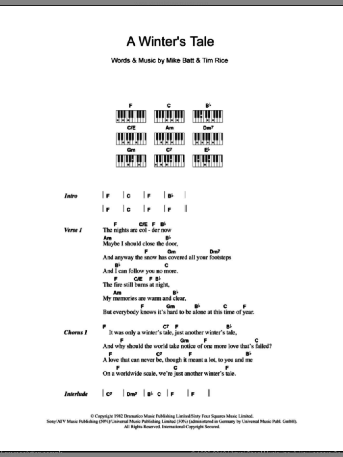 A Winter's Tale sheet music for piano solo (chords, lyrics, melody) by Tim Rice, David Essex and Mike Batt. Score Image Preview.