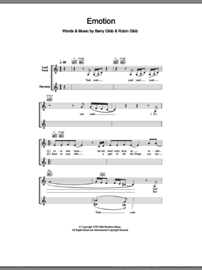 Emotion sheet music for voice and other instruments (fake book) by Destiny's Child, Barry Gibb and Robin Gibb, intermediate skill level