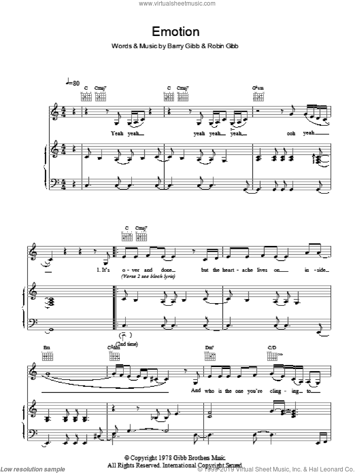Emotion sheet music for voice and piano by Destiny's Child, Barry Gibb and Robin Gibb, intermediate skill level