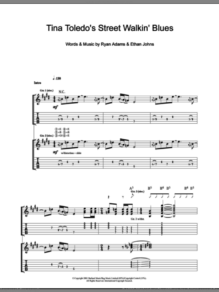 Tina Toledo's Street Walkin' Blues sheet music for guitar (tablature) by Ethan Johns and Ryan Adams. Score Image Preview.