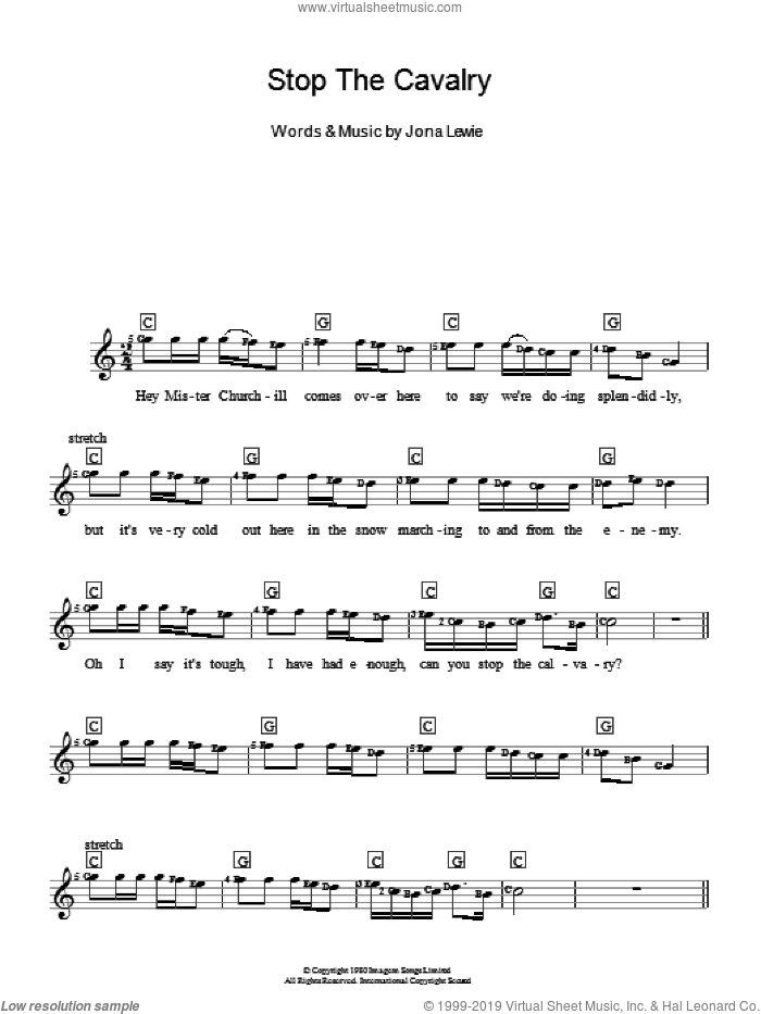 Stop The Cavalry sheet music for piano solo (chords, lyrics, melody) by Jona Lewie. Score Image Preview.