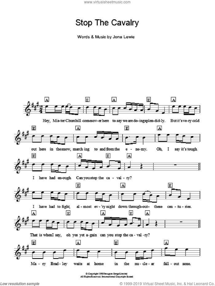 Stop The Cavalry sheet music for voice and other instruments (fake book) by Jona Lewie, intermediate skill level