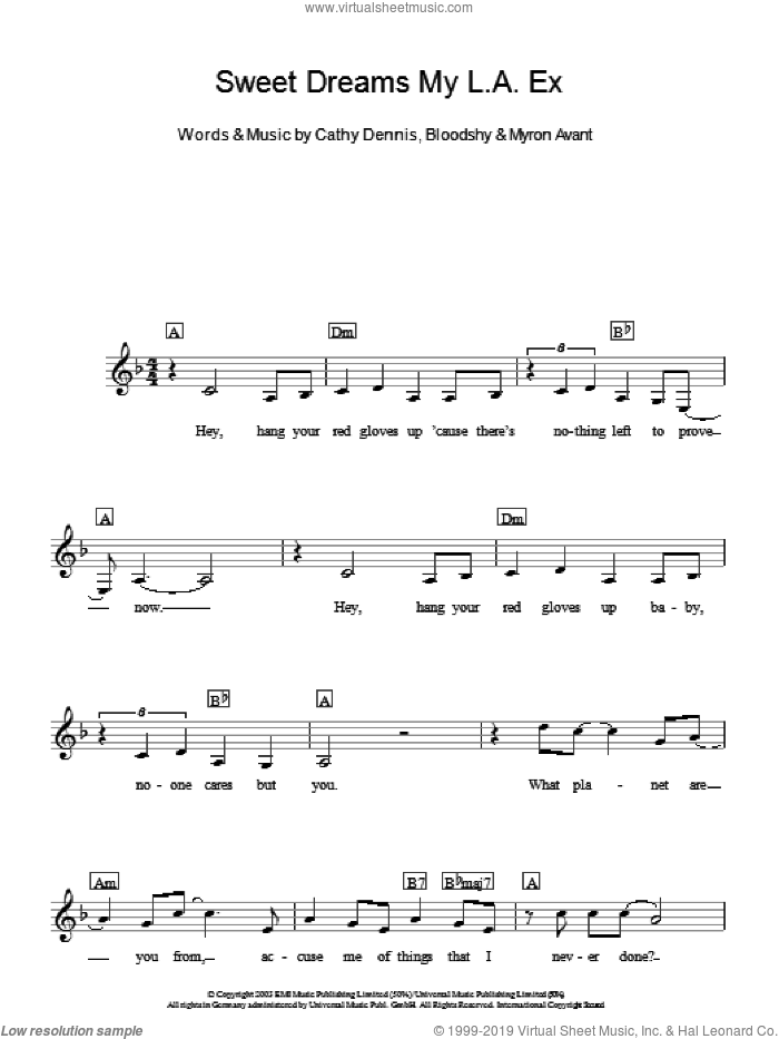 Sweet Dreams My L.A. Ex sheet music for piano solo (chords, lyrics, melody) by Myron Avant, Rachel Stevens and Cathy Dennis. Score Image Preview.