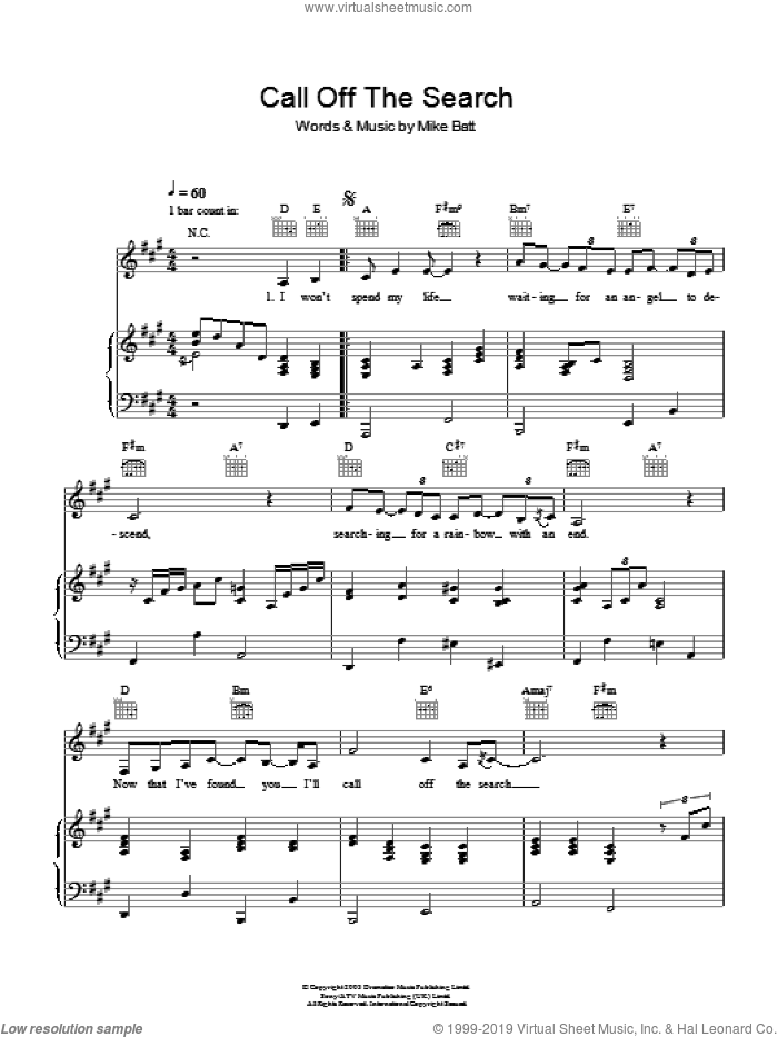 Call Off The Search sheet music for voice, piano or guitar by Katie Melua and Mike Batt, intermediate