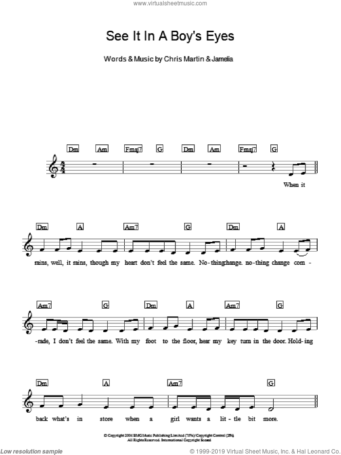 See It In A Boy's Eyes sheet music for piano solo (chords, lyrics, melody) by Jamelia and Chris Martin, intermediate piano (chords, lyrics, melody)
