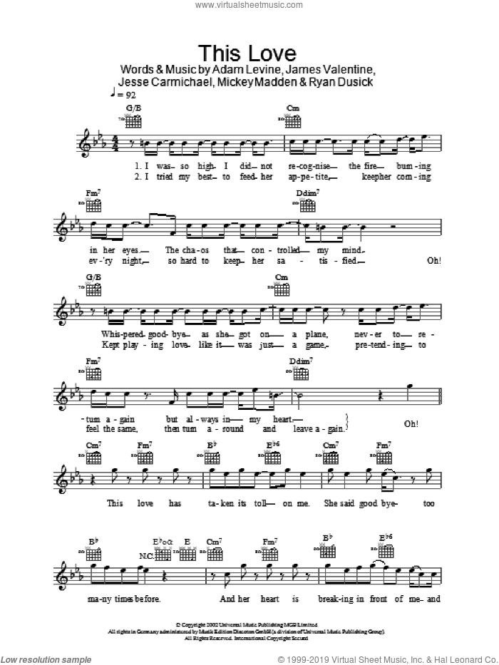 This Love sheet music for voice and other instruments (fake book) by Ryan Dusick, Maroon 5, Adam Levine, James Valentine, Jesse Carmichael and Michael Madden