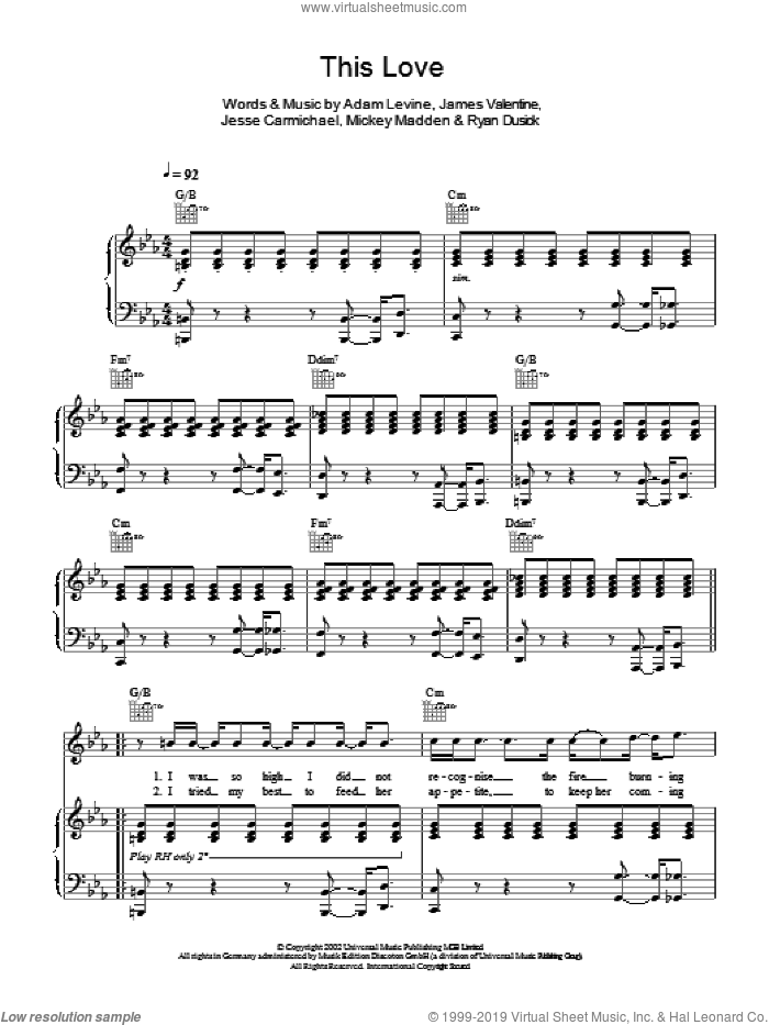 This Love sheet music for voice, piano or guitar by Ryan Dusick, Maroon 5, Adam Levine, James Valentine, Jesse Carmichael and Michael Madden. Score Image Preview.