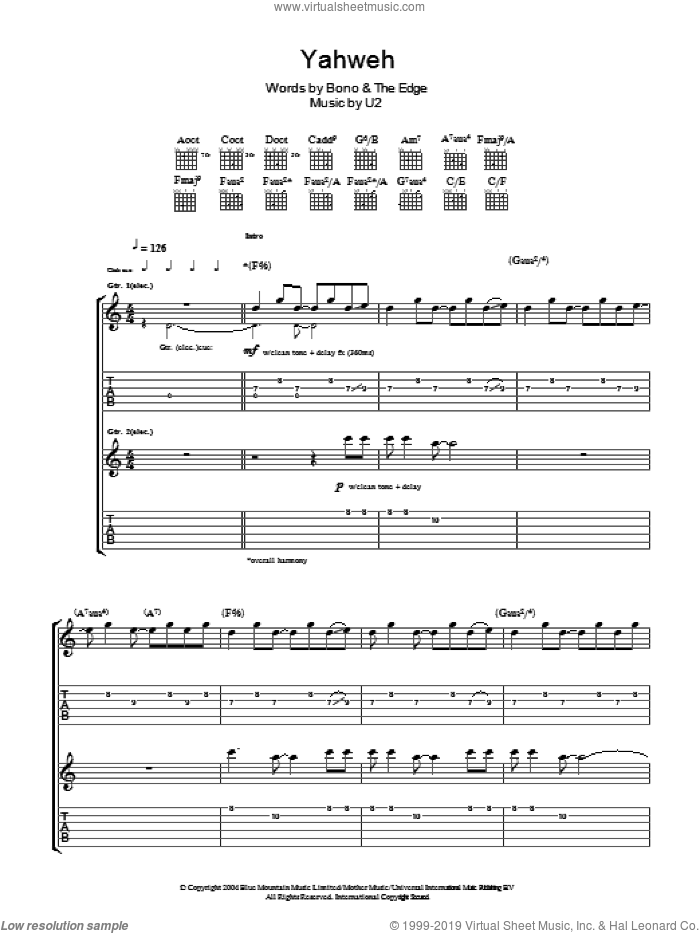 Yahweh sheet music for guitar (tablature) by U2 and Bono. Score Image Preview.