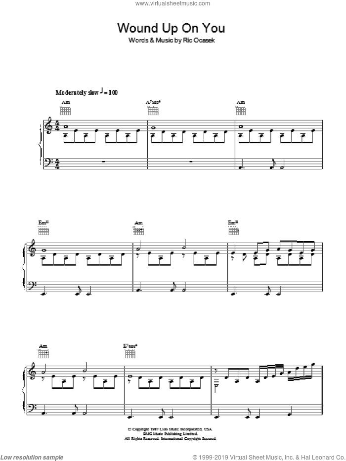 Wound Up On You sheet music for voice, piano or guitar by The Cars and Ric Ocasek, intermediate skill level