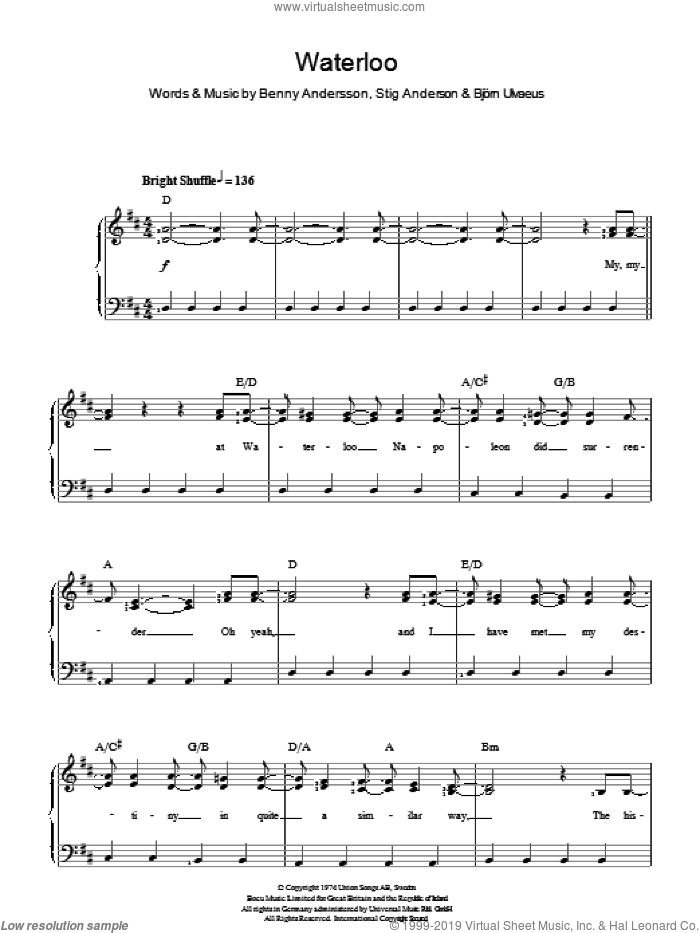 Waterloo sheet music for voice and piano by Stig Anderson, ABBA, Benny Andersson and Bjorn Ulvaeus. Score Image Preview.