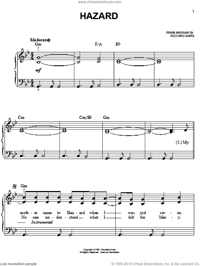 Hazard sheet music for piano solo (chords) by Richard Marx