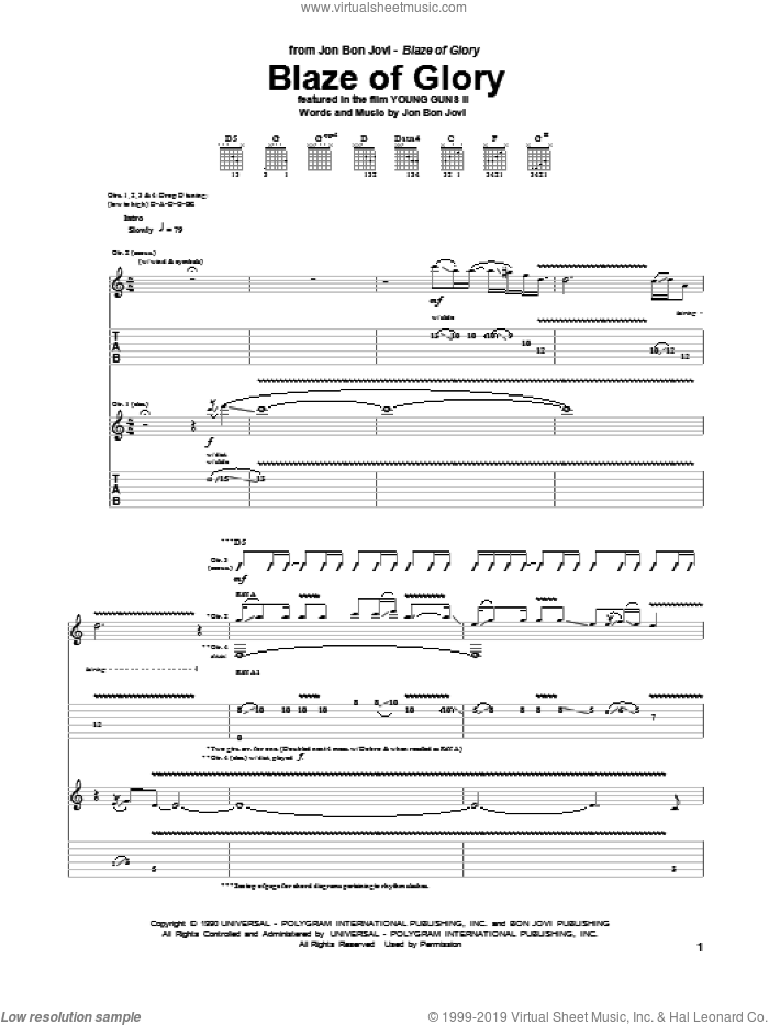 Blaze Of Glory sheet music for guitar (tablature) by Bon Jovi. Score Image Preview.