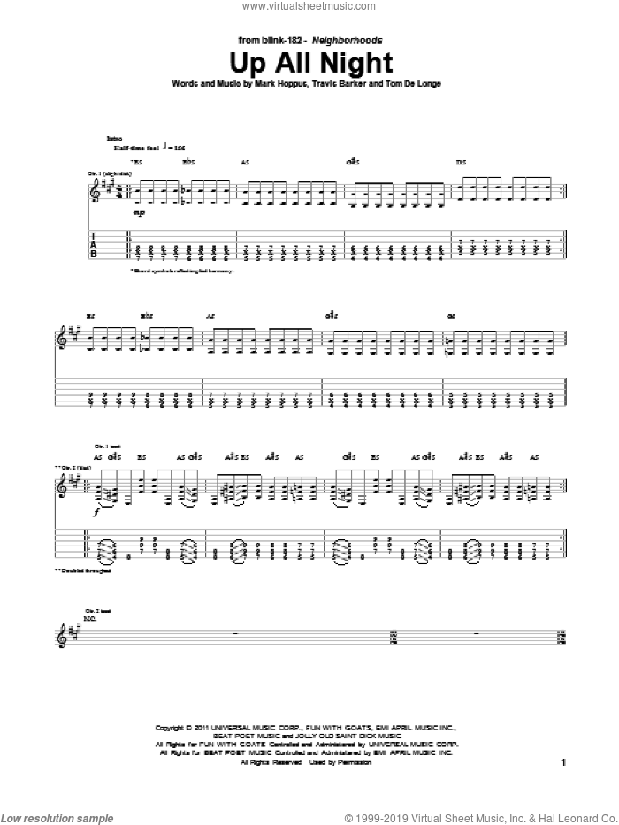 Up All Night sheet music for guitar (tablature) by Travis Barker