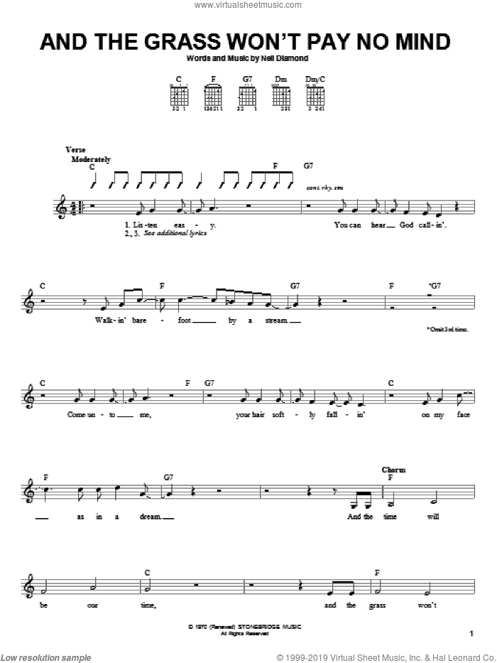 And The Grass Won't Pay No Mind sheet music for guitar solo (chords) by Neil Diamond and Mark Lindsay, easy guitar (chords). Score Image Preview.