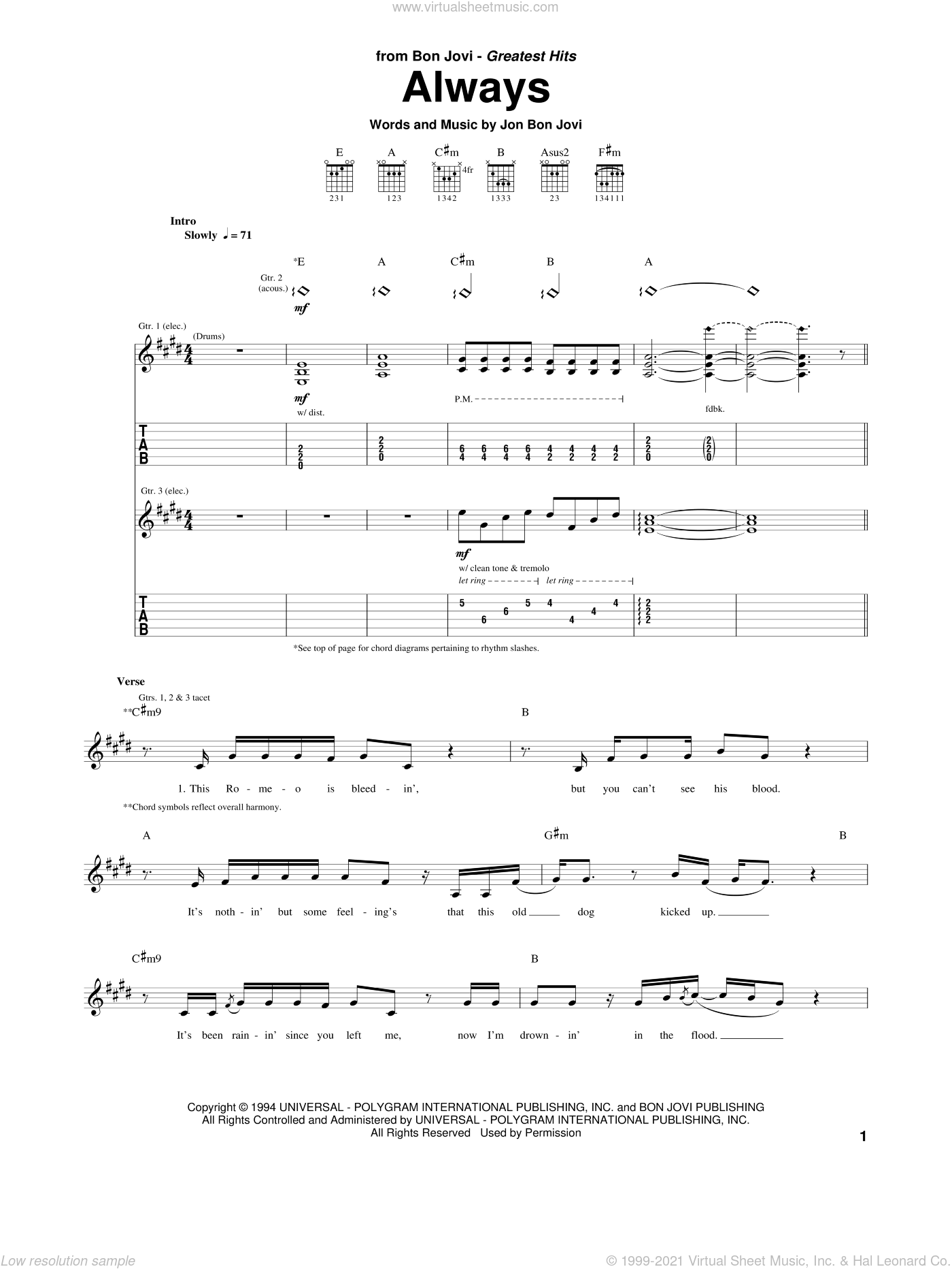 Always sheet music for guitar (tablature) by Bon Jovi. Score Image Preview.
