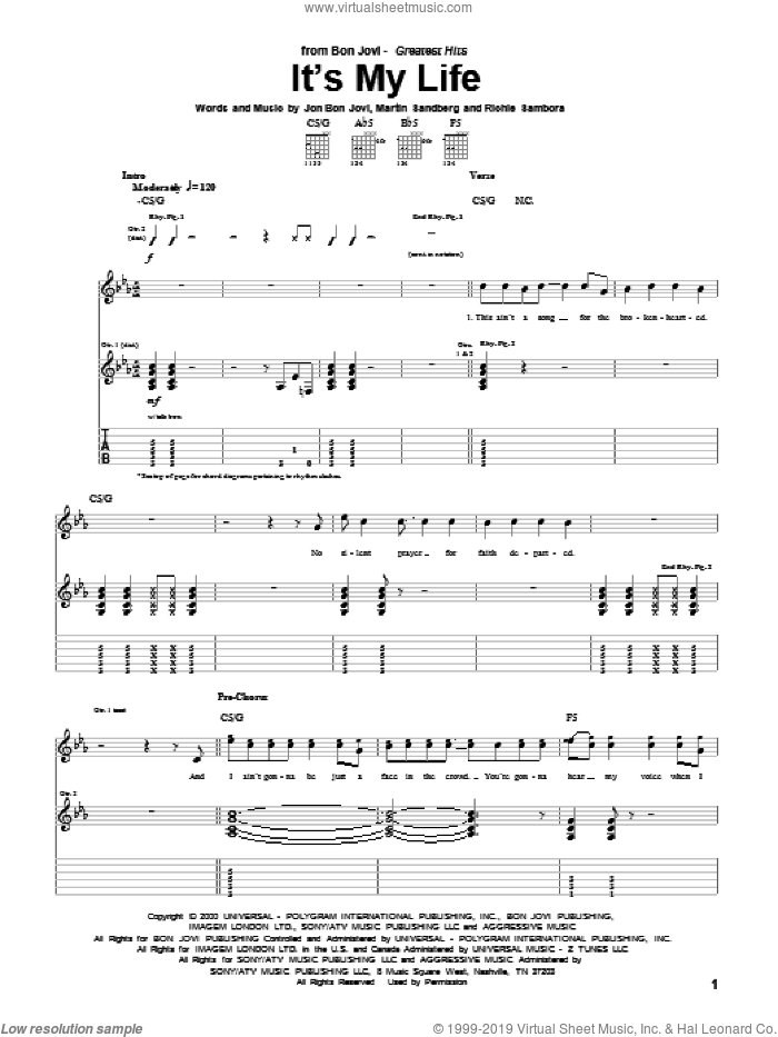 It's My Life sheet music for guitar (tablature) by Richie Sambora, Bon Jovi and Martin Sandberg. Score Image Preview.