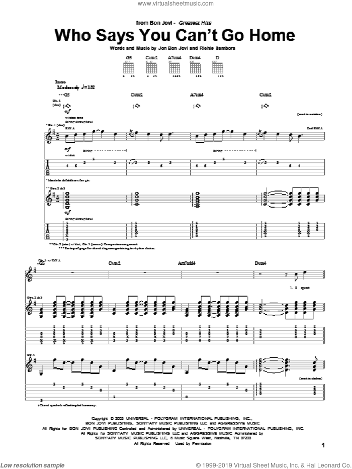 Who Says You Can't Go Home sheet music for guitar (tablature) by Richie Sambora