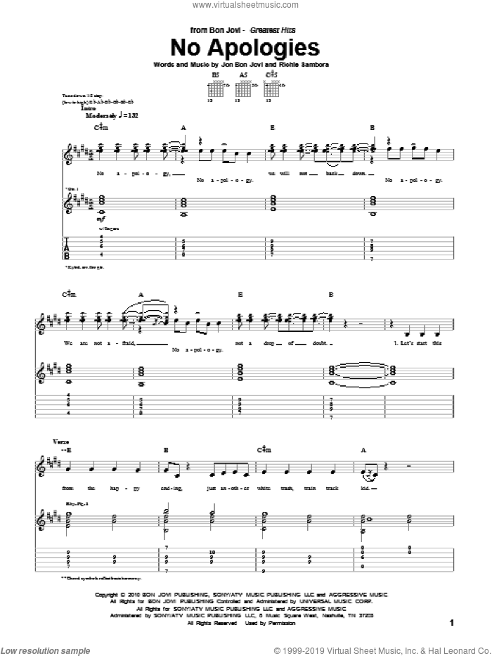 No Apologies sheet music for guitar (tablature) by Bon Jovi and Richie Sambora. Score Image Preview.