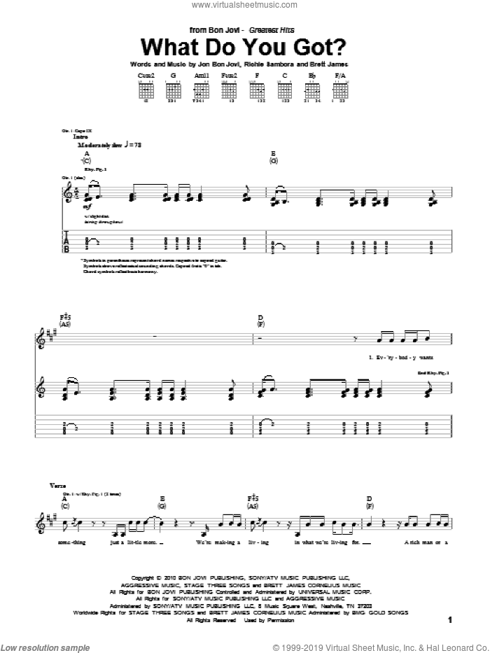What Do You Got? sheet music for guitar (tablature) by Richie Sambora, Bon Jovi and Brett James. Score Image Preview.
