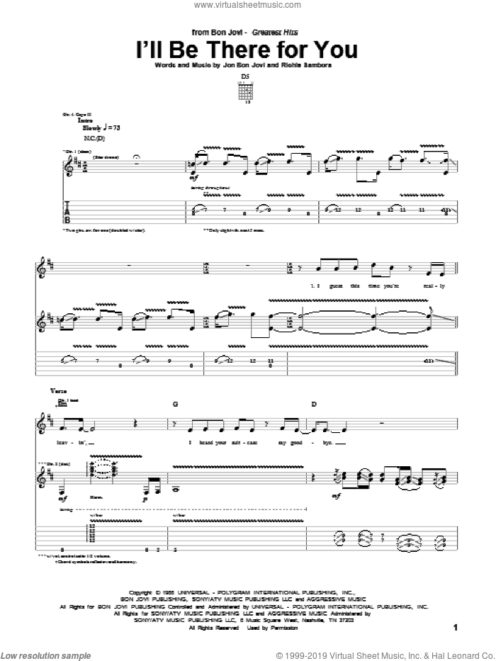 I'll Be There For You sheet music for guitar (tablature) by Richie Sambora and Bon Jovi. Score Image Preview.