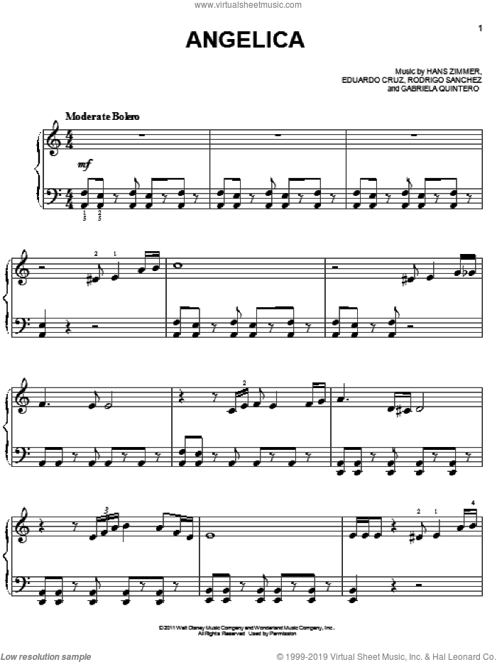 Angelica sheet music for piano solo (chords) by Rodrigo Sanchez
