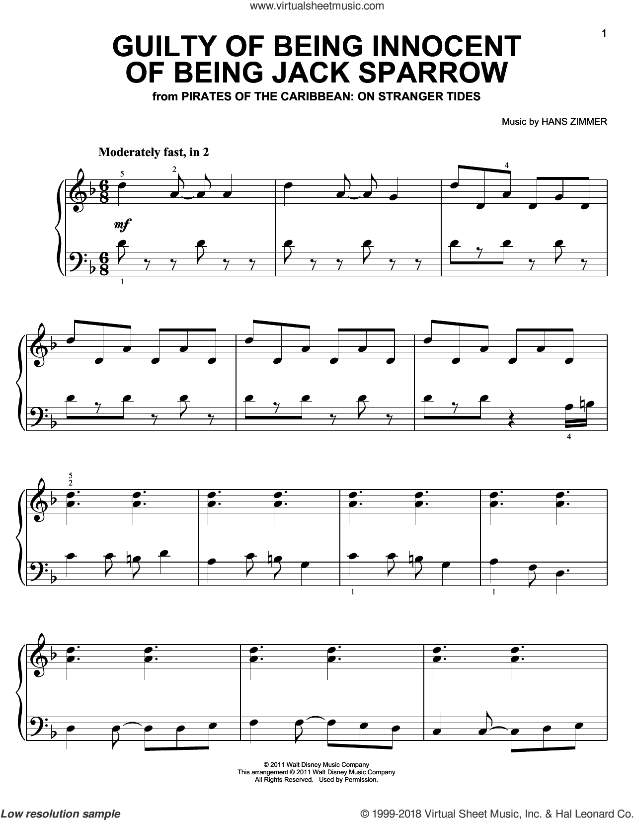 Guilty Of Being Innocent Of Being Jack Sparrow sheet music for piano solo by Hans Zimmer