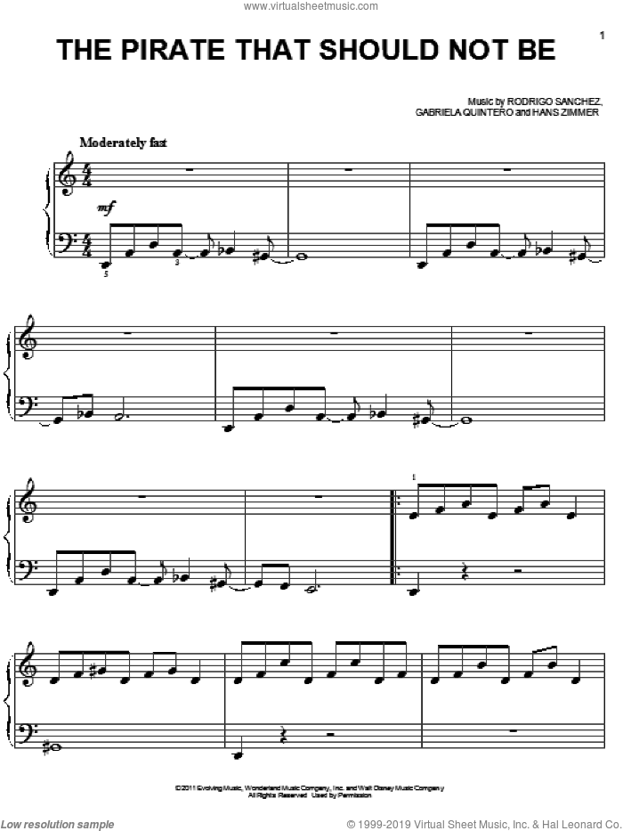 The Pirate That Should Not Be sheet music for piano solo by Hans Zimmer and Rodrigo y Gabriela. Score Image Preview.