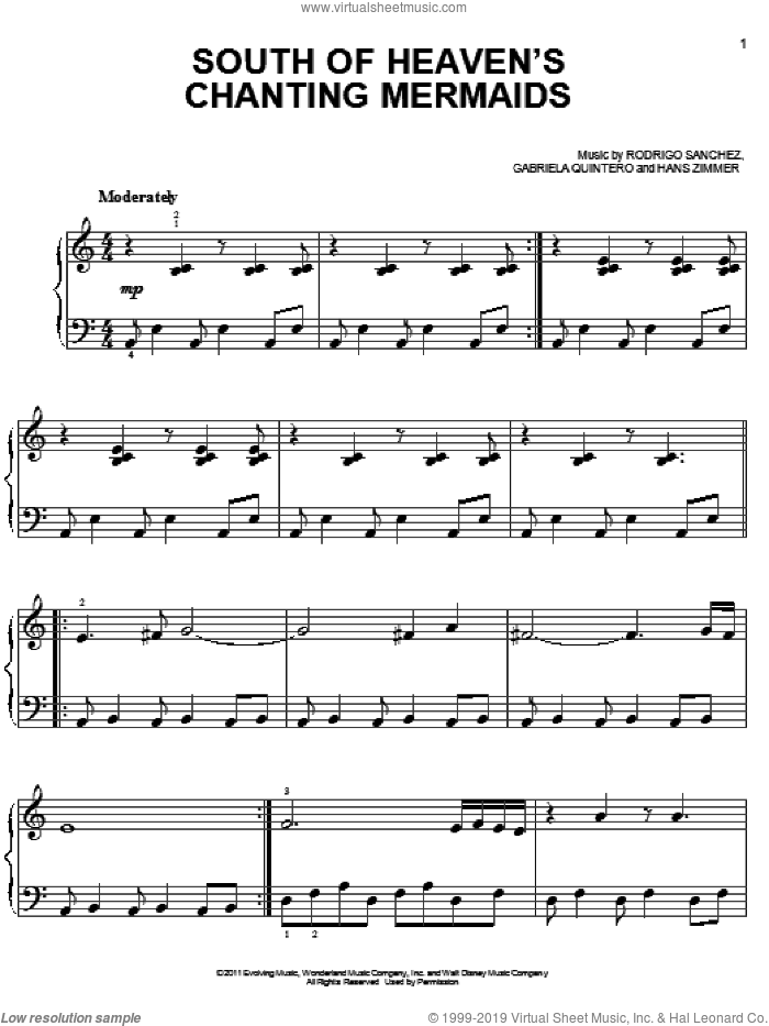 South Of Heaven's Chanting Mermaids sheet music for piano solo (chords) by Rodrigo Sanchez