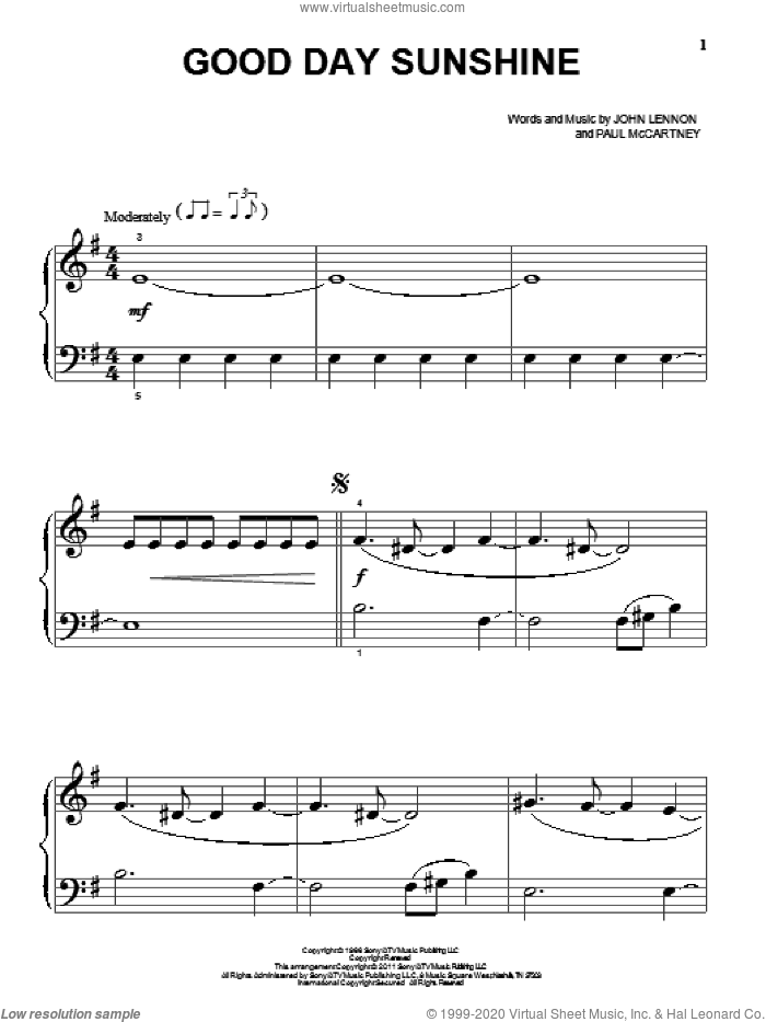 Good Day Sunshine sheet music for piano solo (big note book) by The Beatles, John Lennon and Paul McCartney, easy piano (big note book)